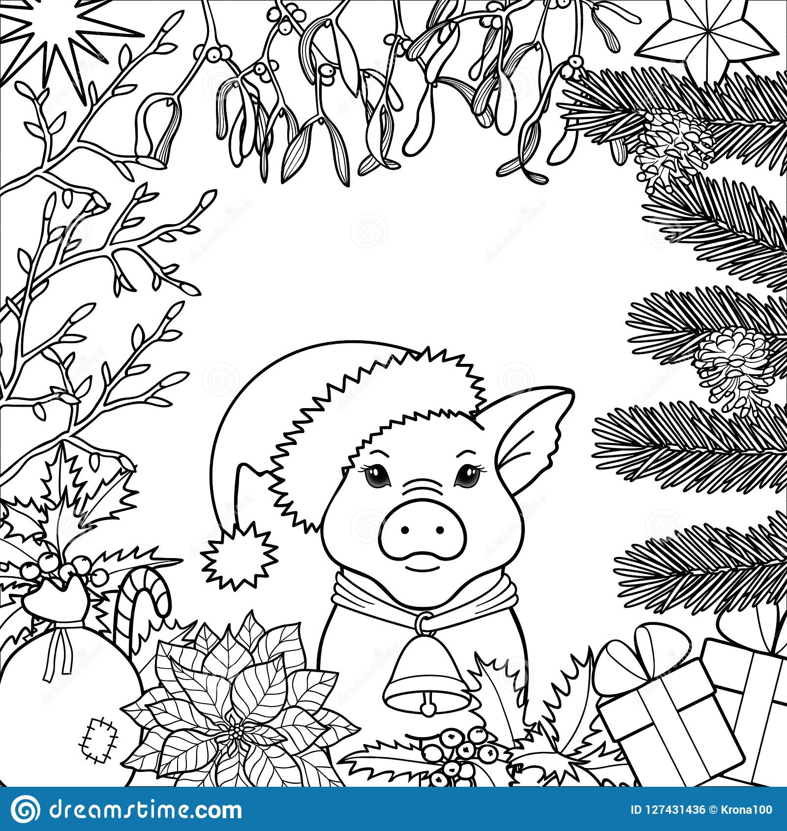 Winter holiday coloring page with pig symbol 2019 black and white square template for greeting cards mock ups coloring books and covers with text place