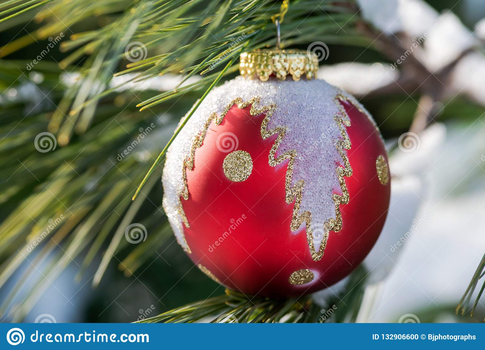 Winter Holiday Decoration Concept Christmas Tree Ball And Frozen