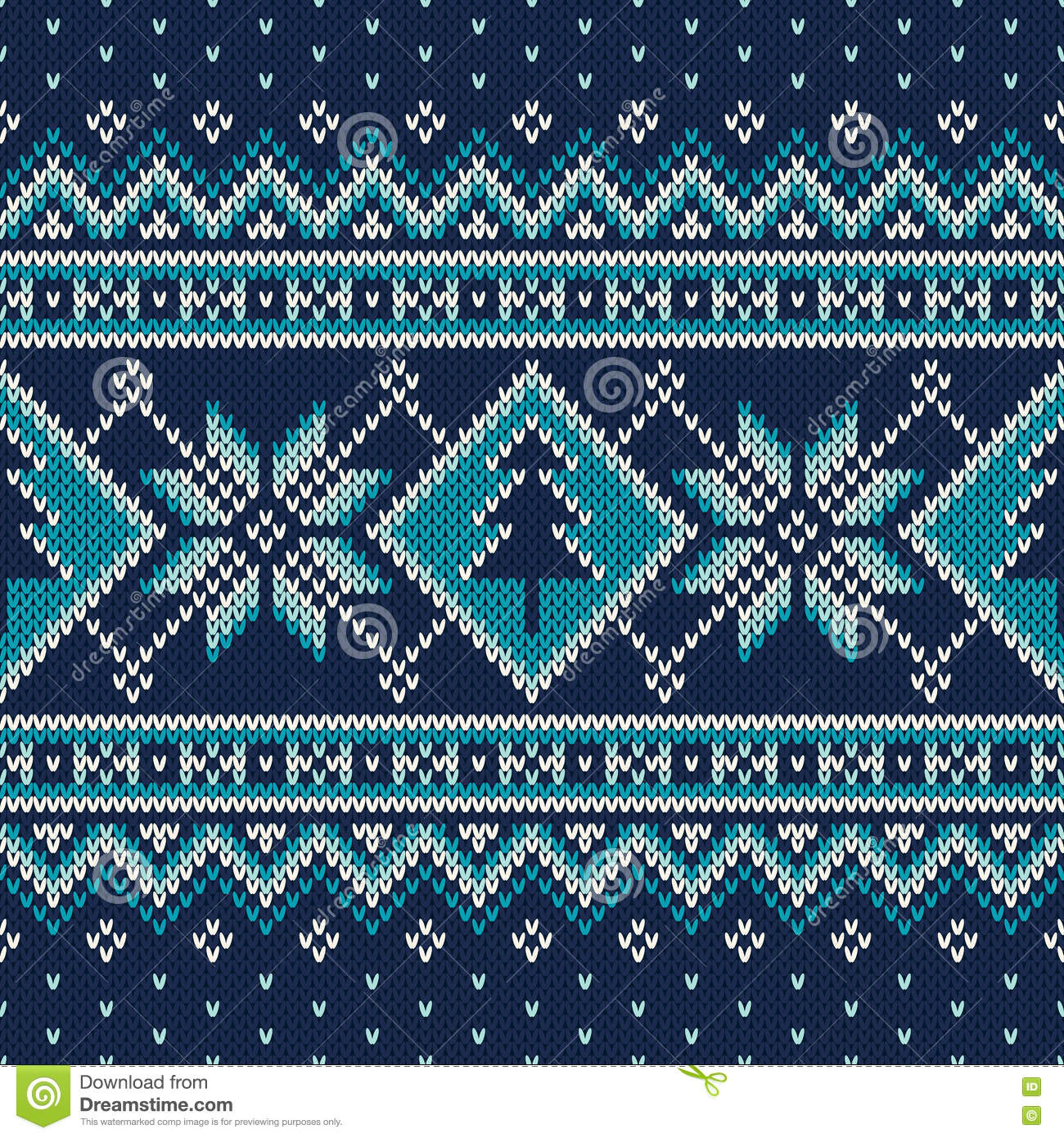 winter holiday fair isle knitted pattern with snowflakes