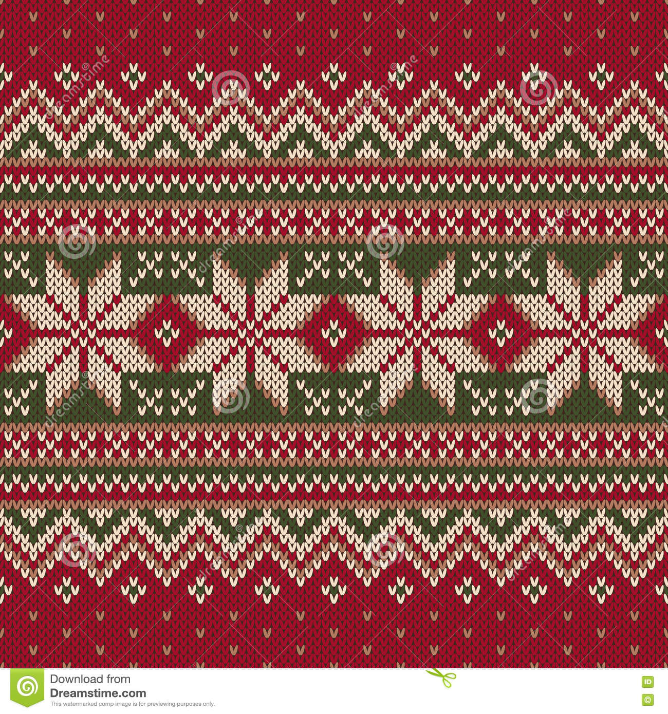 Knitting Vector Patterns : Winter holiday fair isle knitted pattern vector seamless