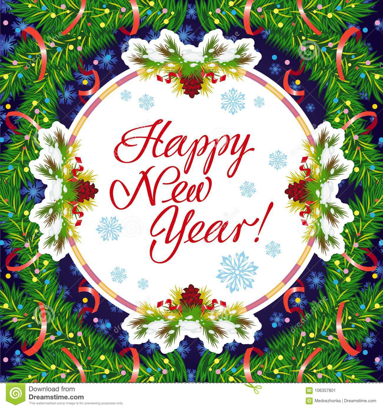winter holiday greeting card with christmas decorations and artistic written text happy new year new year eve vector clip art