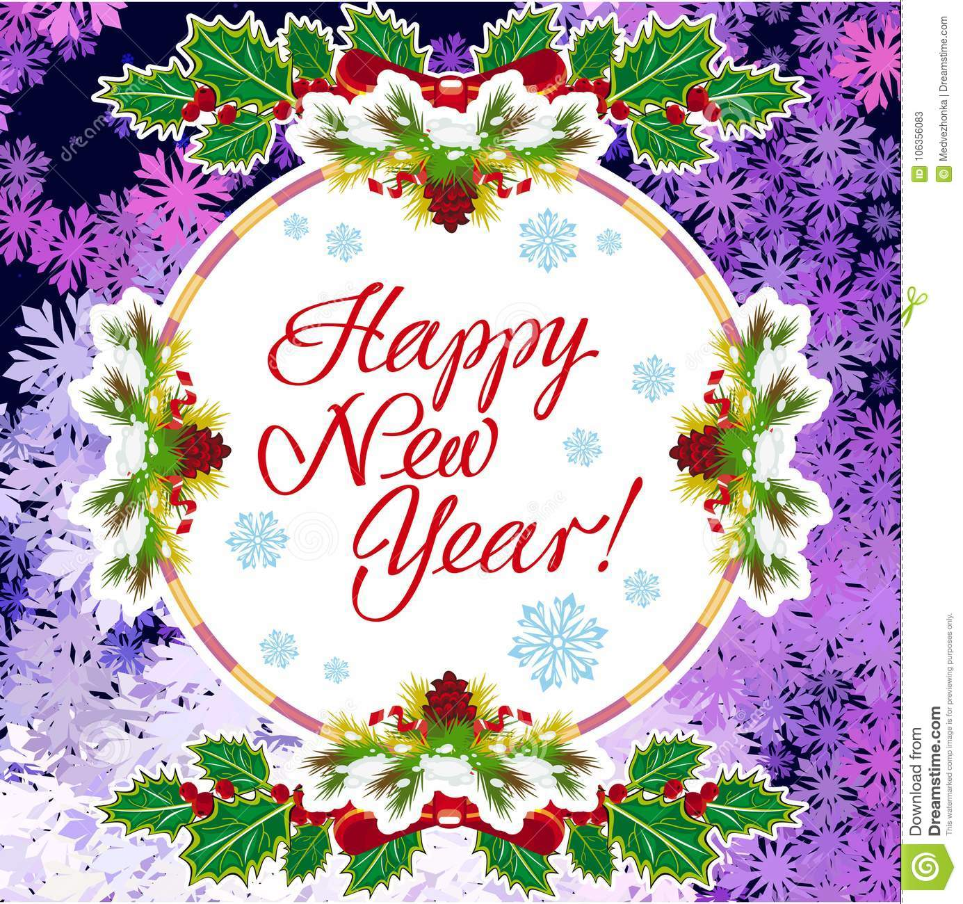 Winter Holiday Greeting Card With Christmas Decorations ...