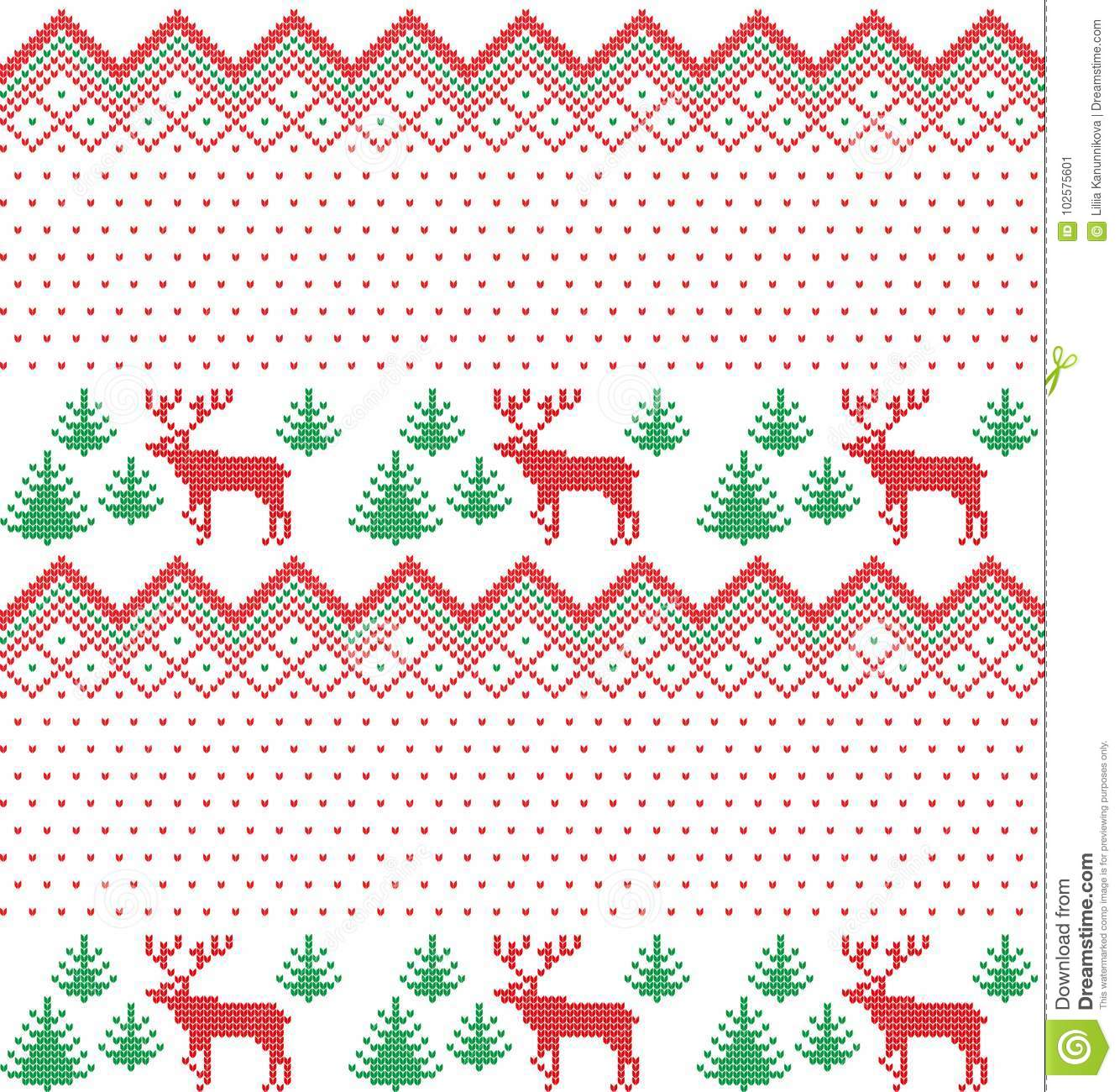 Winter Holiday Knitting Pattern With A Christmas Trees. Christmas ...
