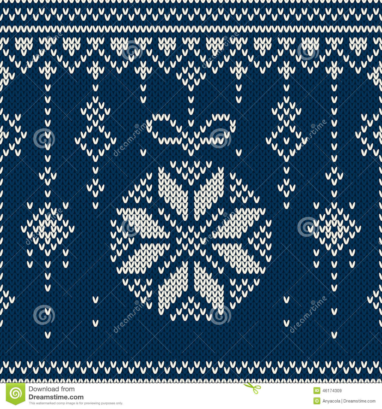 Winter Holiday Seamless Knitting Pattern With A Christmas Tree Balls ...