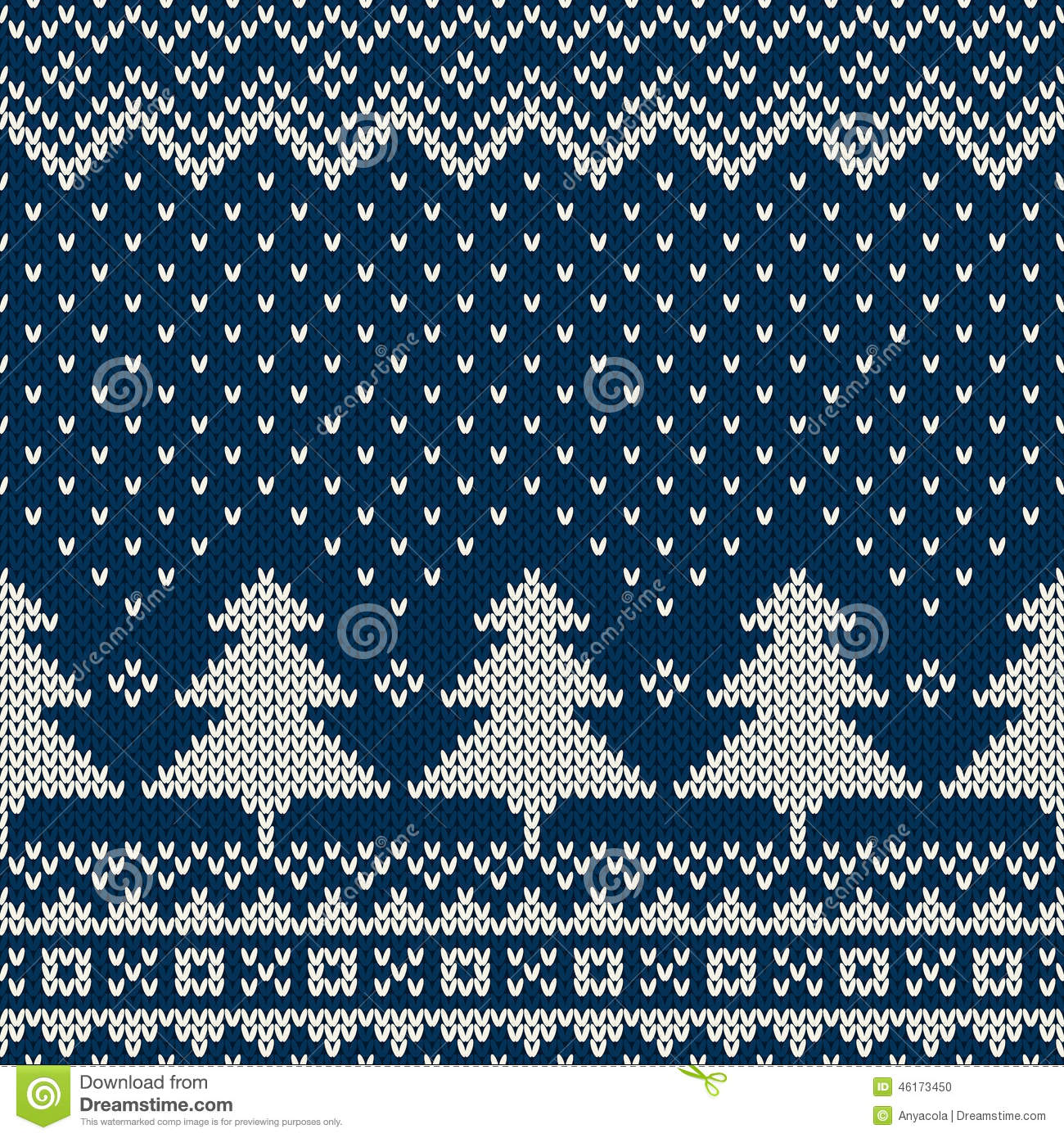 Knitting Vector Patterns : Winter holiday seamless knitting pattern with a christmas