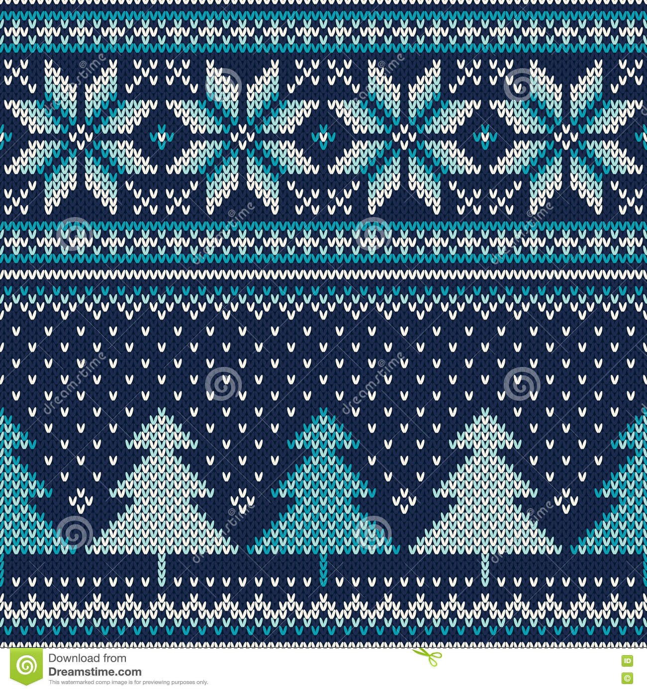 Knit Pattern Christmas Vector : Winter Holiday Seamless Knitting Pattern With A Christmas Tree. Vector Knitte...