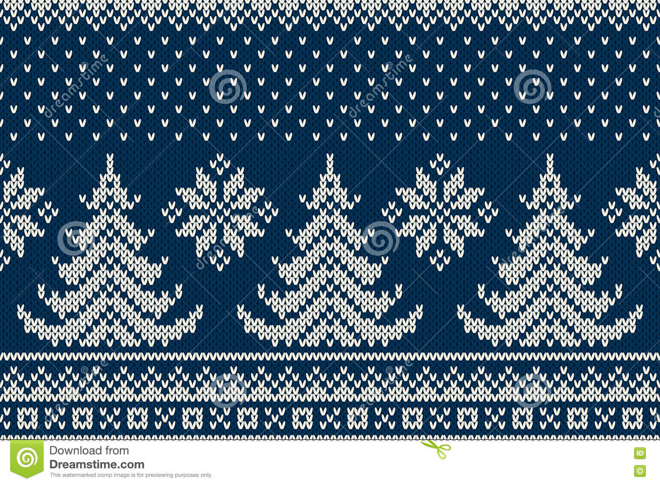 Snowflake Jumper Knitting Pattern : Winter Holiday Seamless Knitting Pattern With A Christmas Trees And Snowflake...