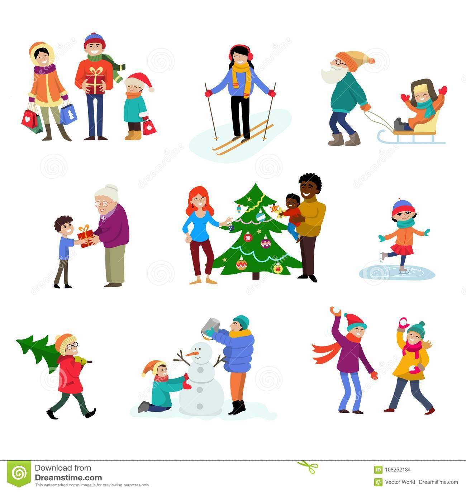 Winter Holiday Vector Cartoon Family Characters Kids Play ...