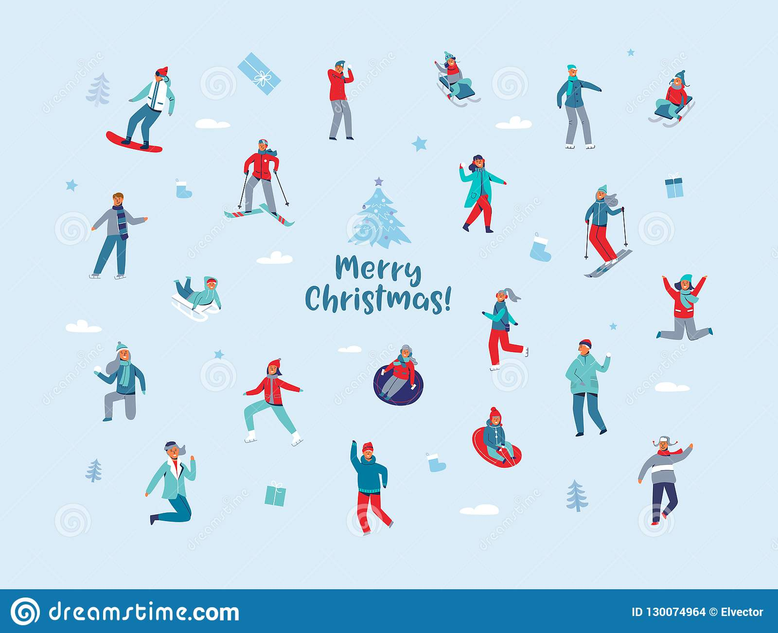 e2312e62e7 Winter Holidays Characters. Happy People In Different Winter ...