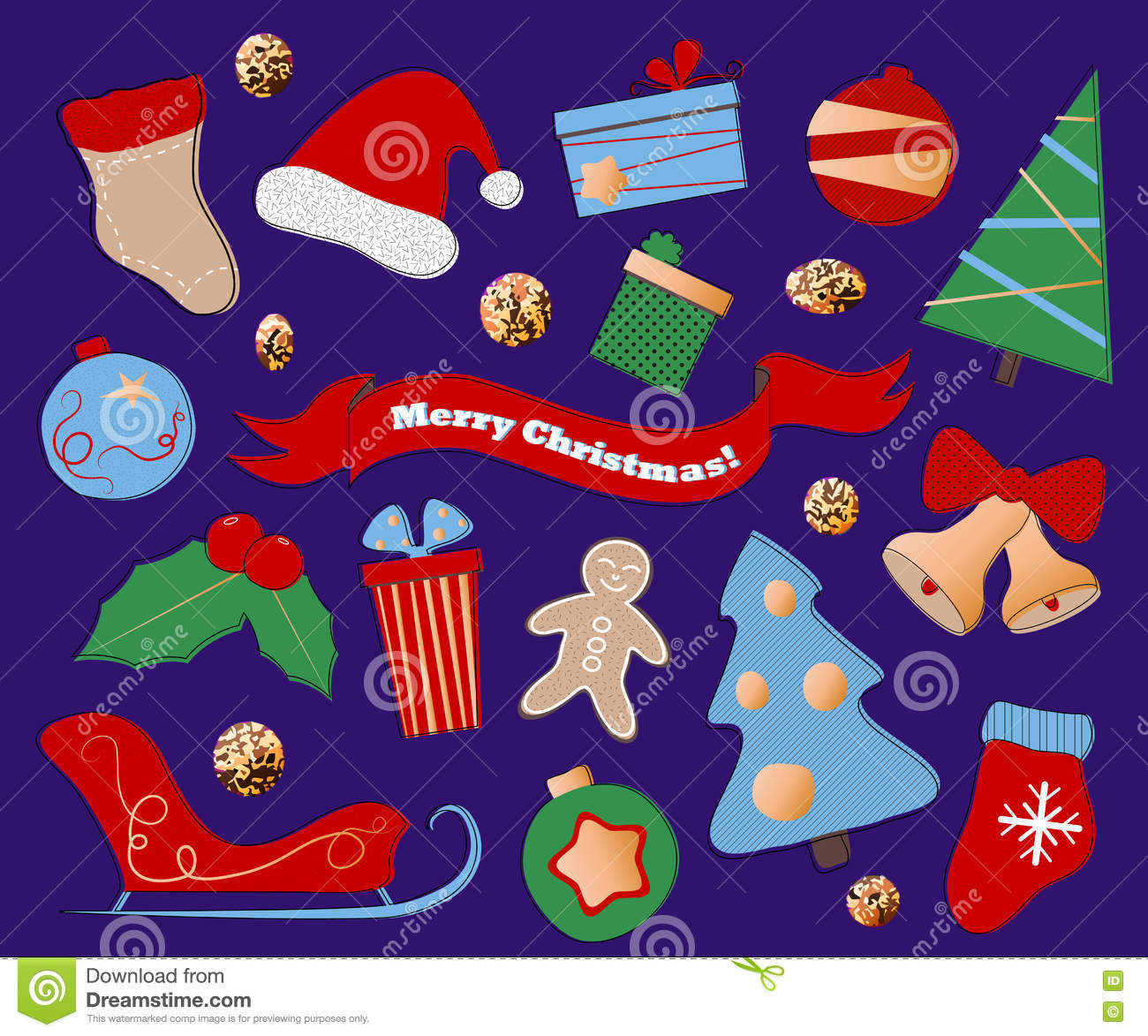 winter holidays clipart on purple background christmas or new year icons in flat style