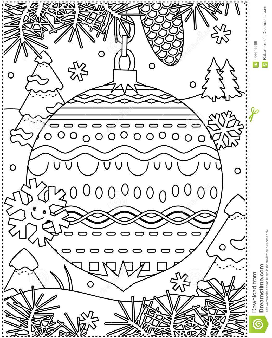 Winter Holidays Coloring Page With Decorated Ornament Stock Vector