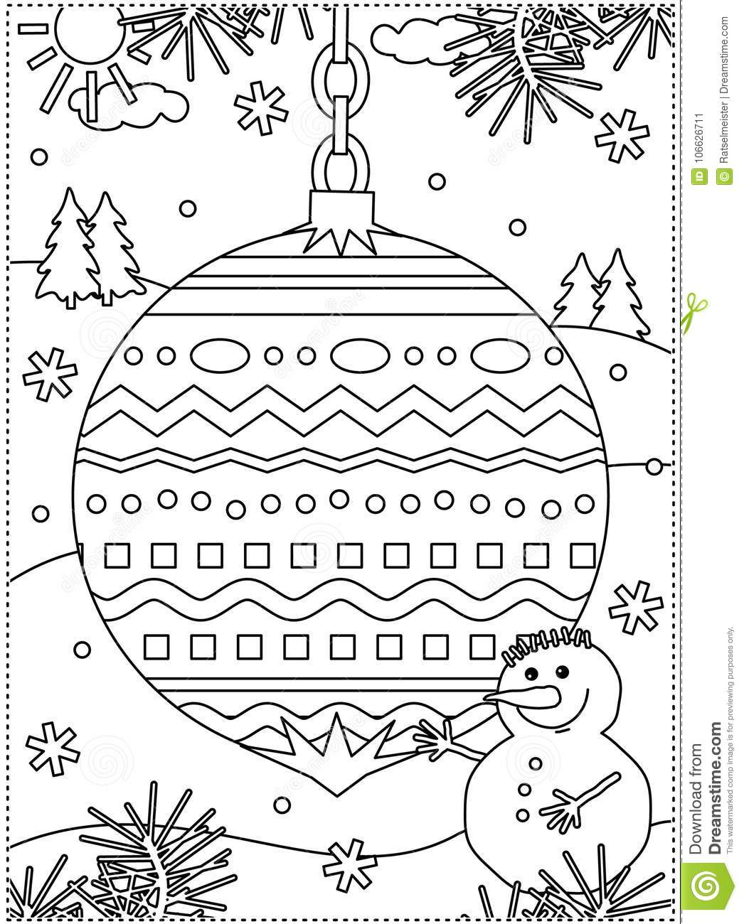 Winter Holidays Coloring Page With Decorated Ornament And Snowman ...