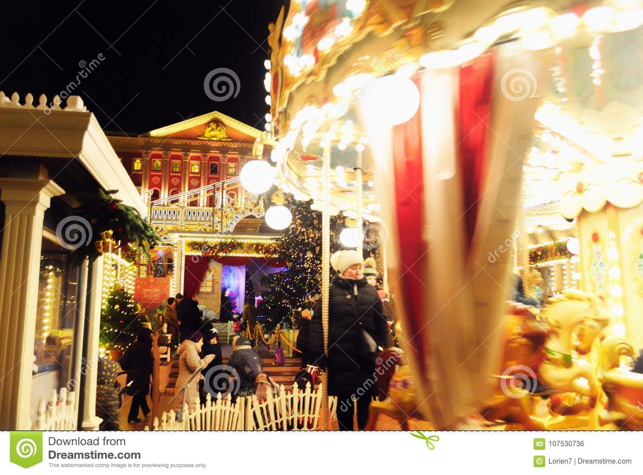 Winter Holidays Festivities with a Carousel near Mayor`s Office in Moscow, Russia