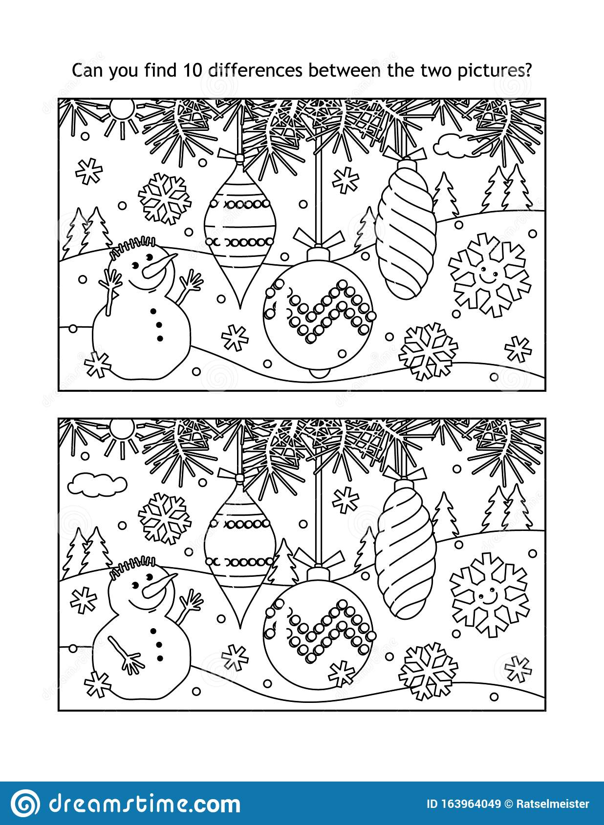 Christmas Tree Ornaments Find The Differences Visual Puzzle And Coloring Page Stock Vector Illustration Of Difference Printable 163964049