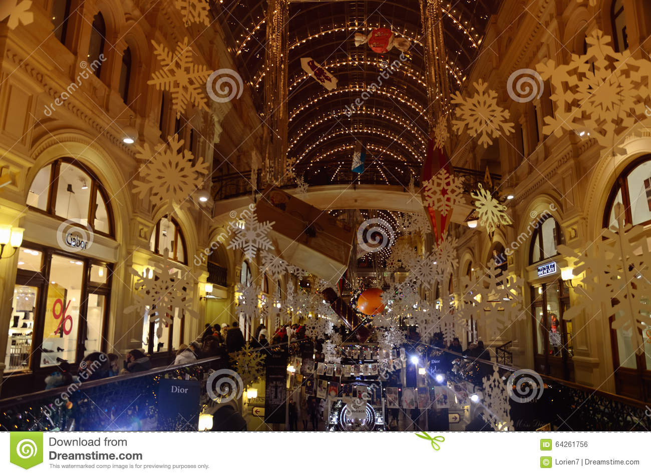 Winter holidays interior of gum store moscow russia for Interior decoration for new year