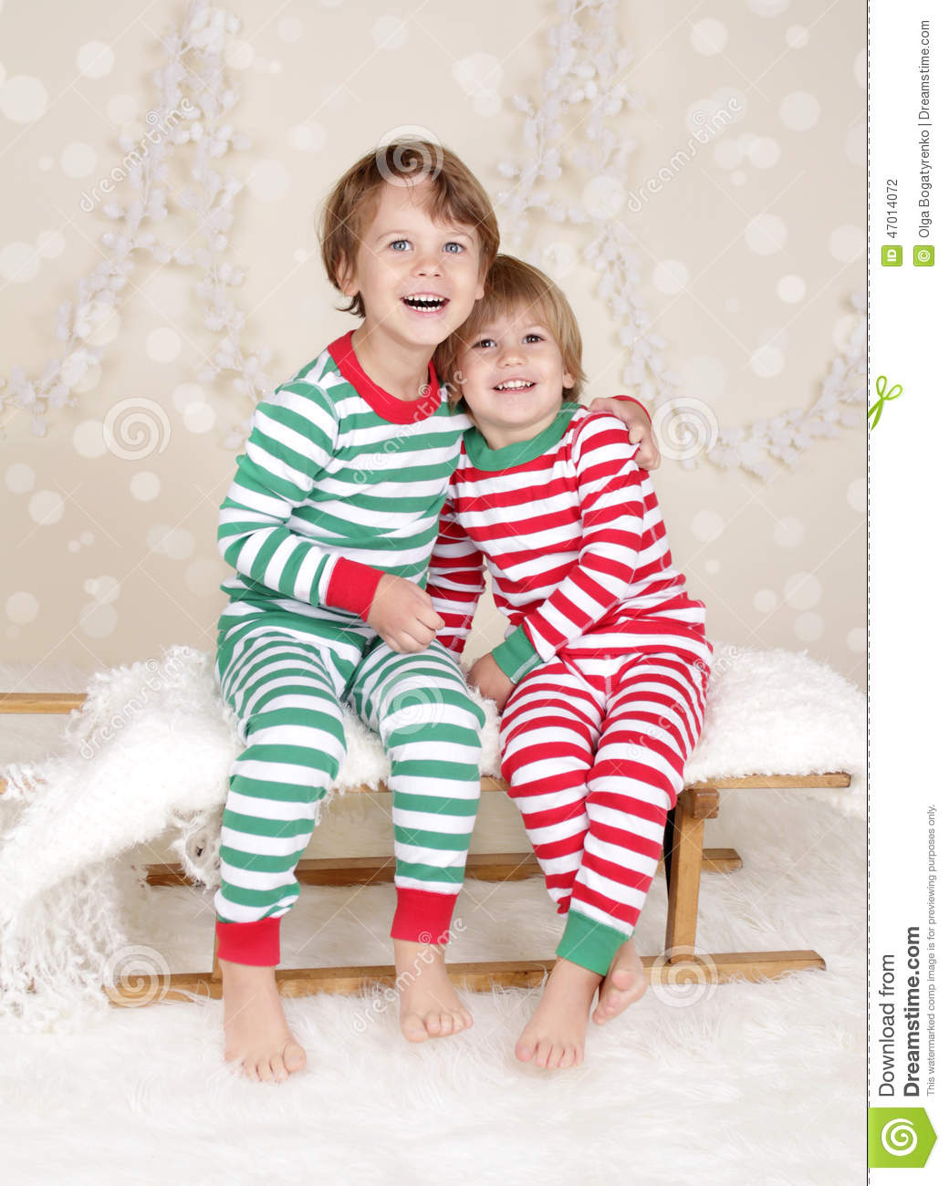 25b5aca1ea Winter Holidays  Laughing Happy Kids In Christmas Pajamas Sled I ...