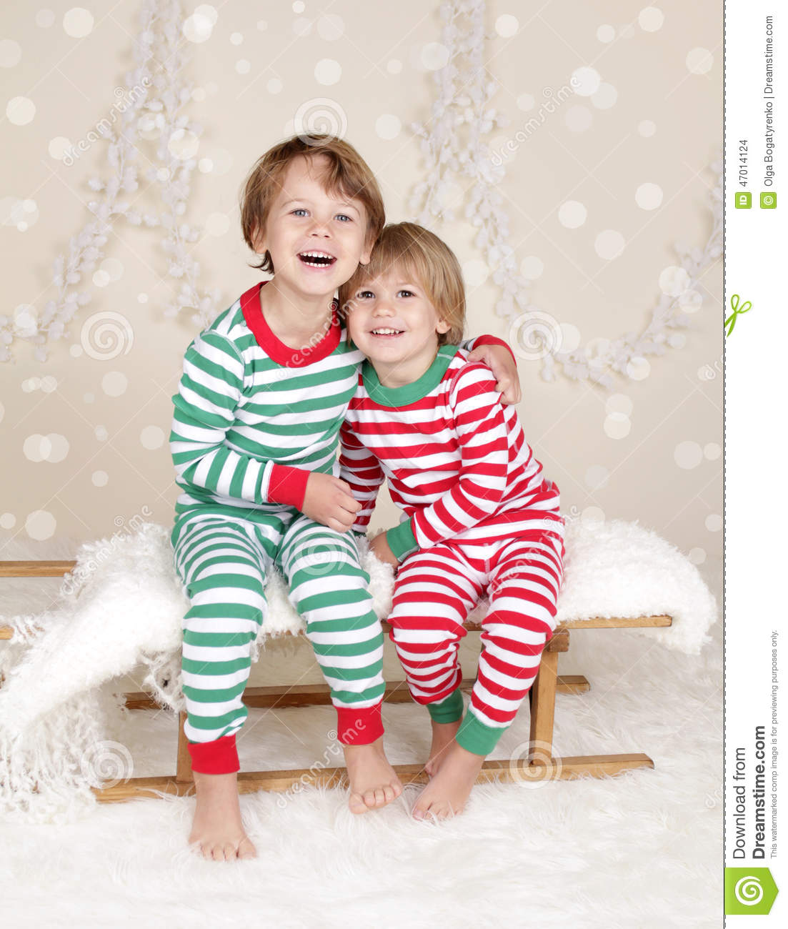 Winter Holidays: Laughing Happy Kids In Christmas Pajamas Sled I ...