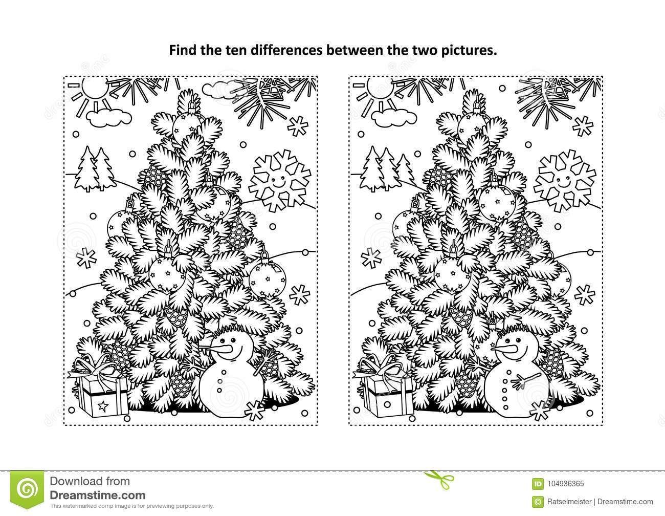 Winter Holidays New Year Or Christmas Themed Find The Ten Differences Picture Puzzle And Coloring Page With Tree Cheerful Snowman Gift Box