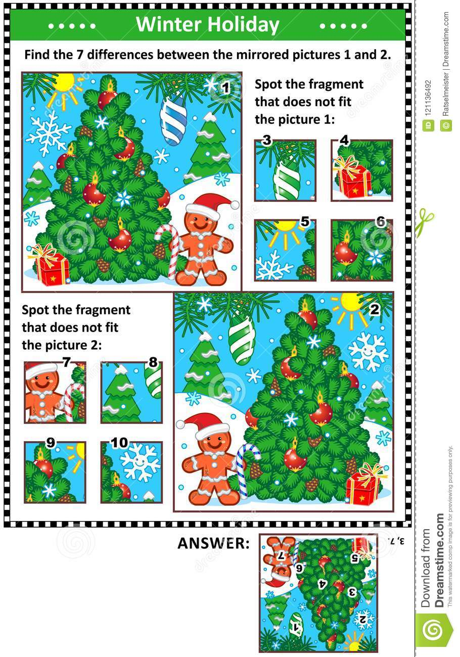 Winter holidays picture puzzles with christmas tree