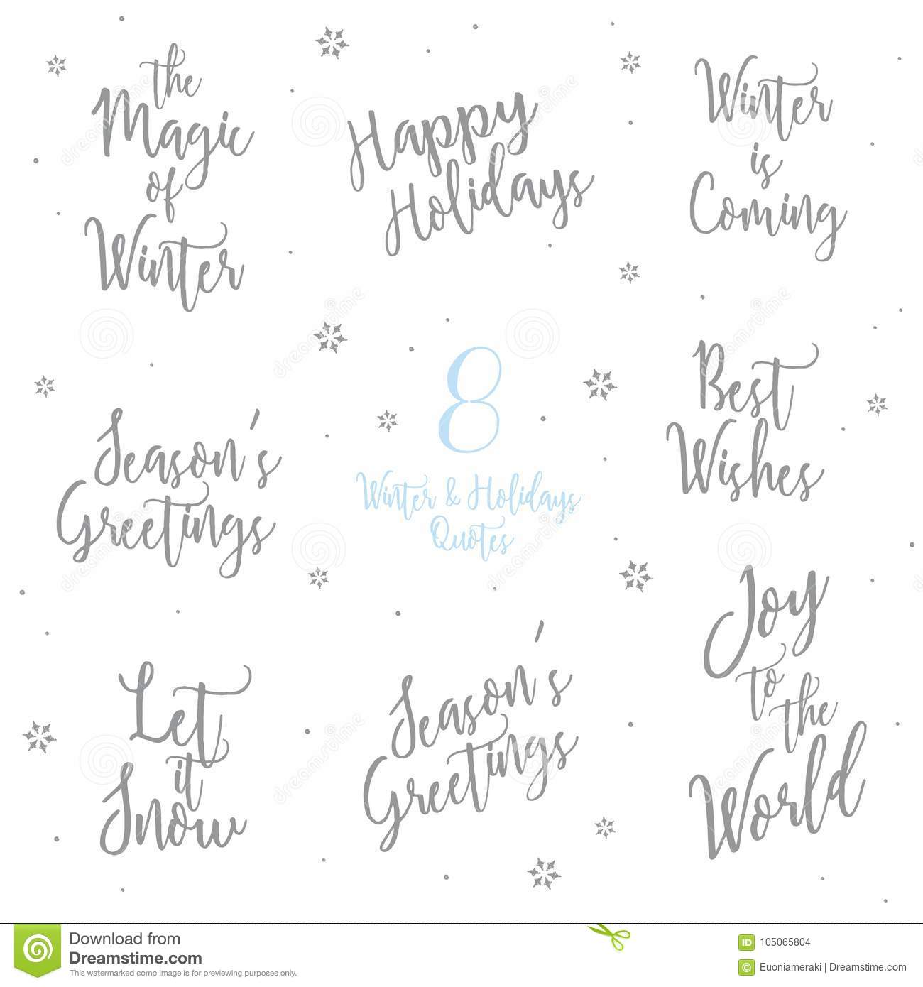 Winter And Holidays Quotes Text Calligraphy Word Font Stock Vector