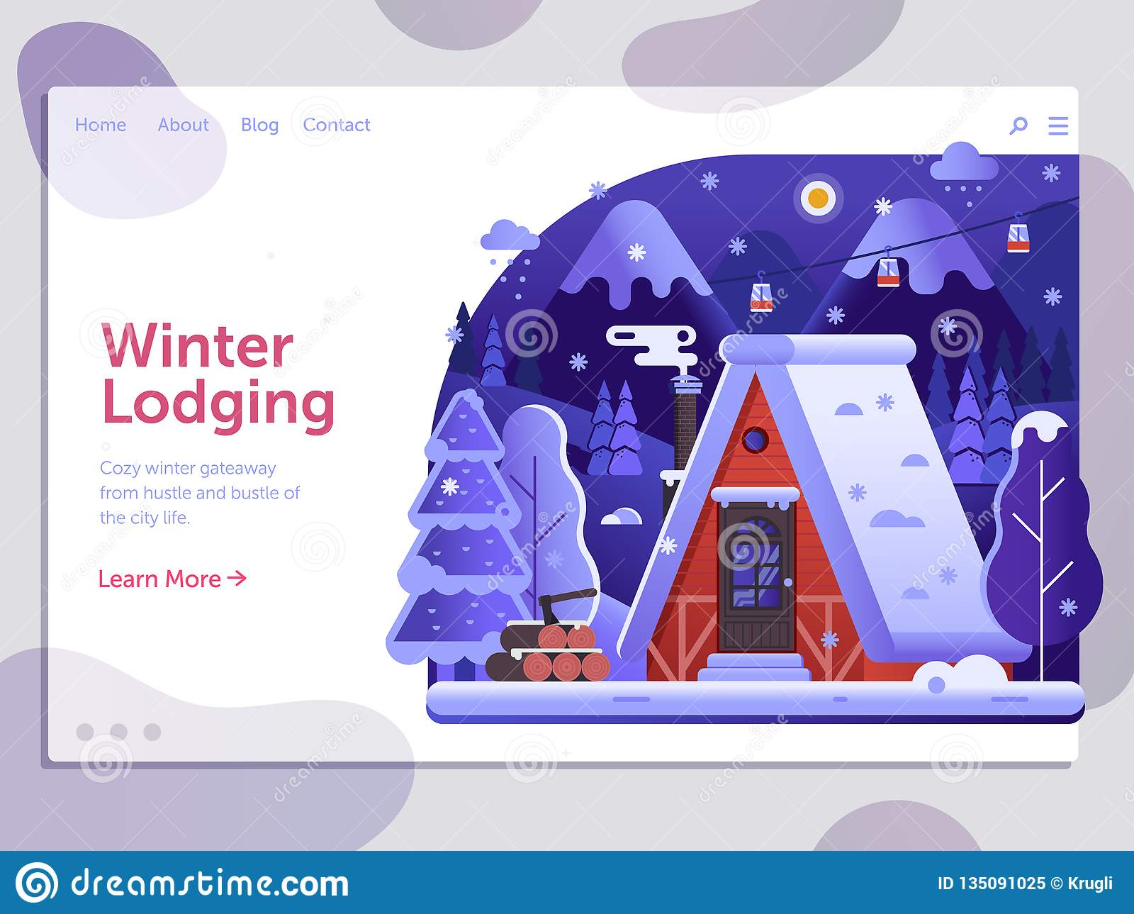 Winter Holidays on Ski Lodge Cabin Banner