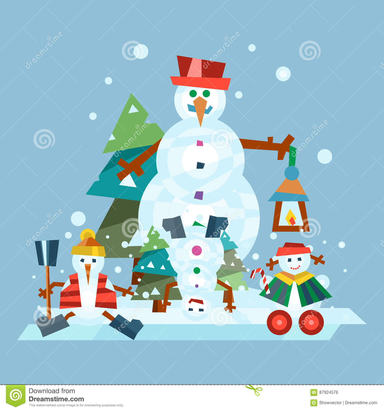 Winter Holidays Snowman Cheerful Character In Cold Season