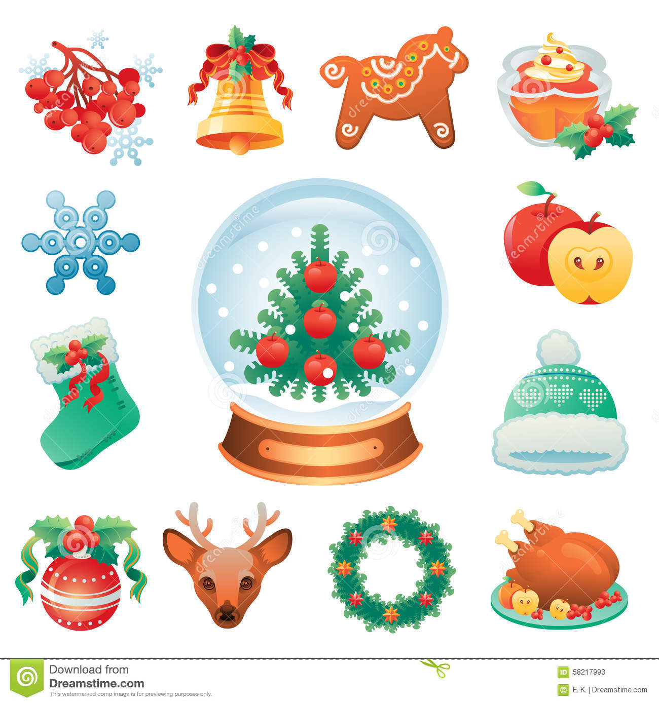 Christmas icon set containing 12 icons with winter holidays symbols