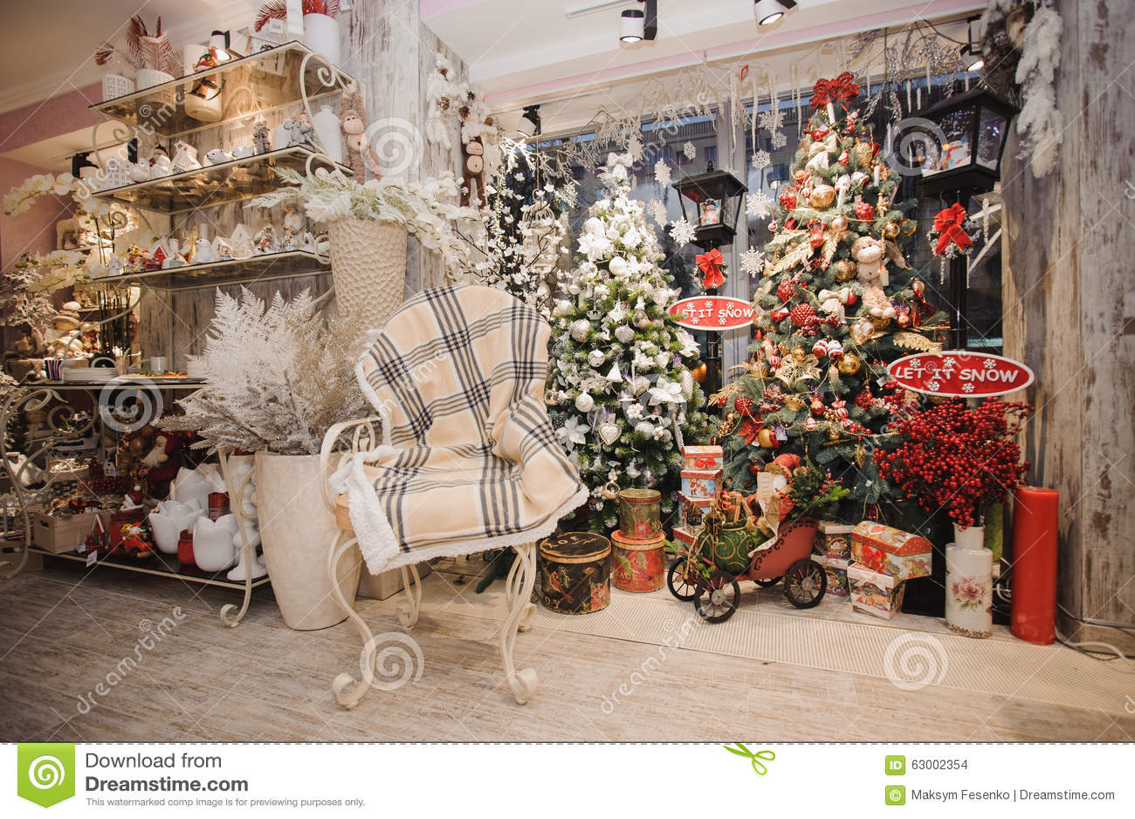 winter home decor. christmas rustic interior. stock photo - image