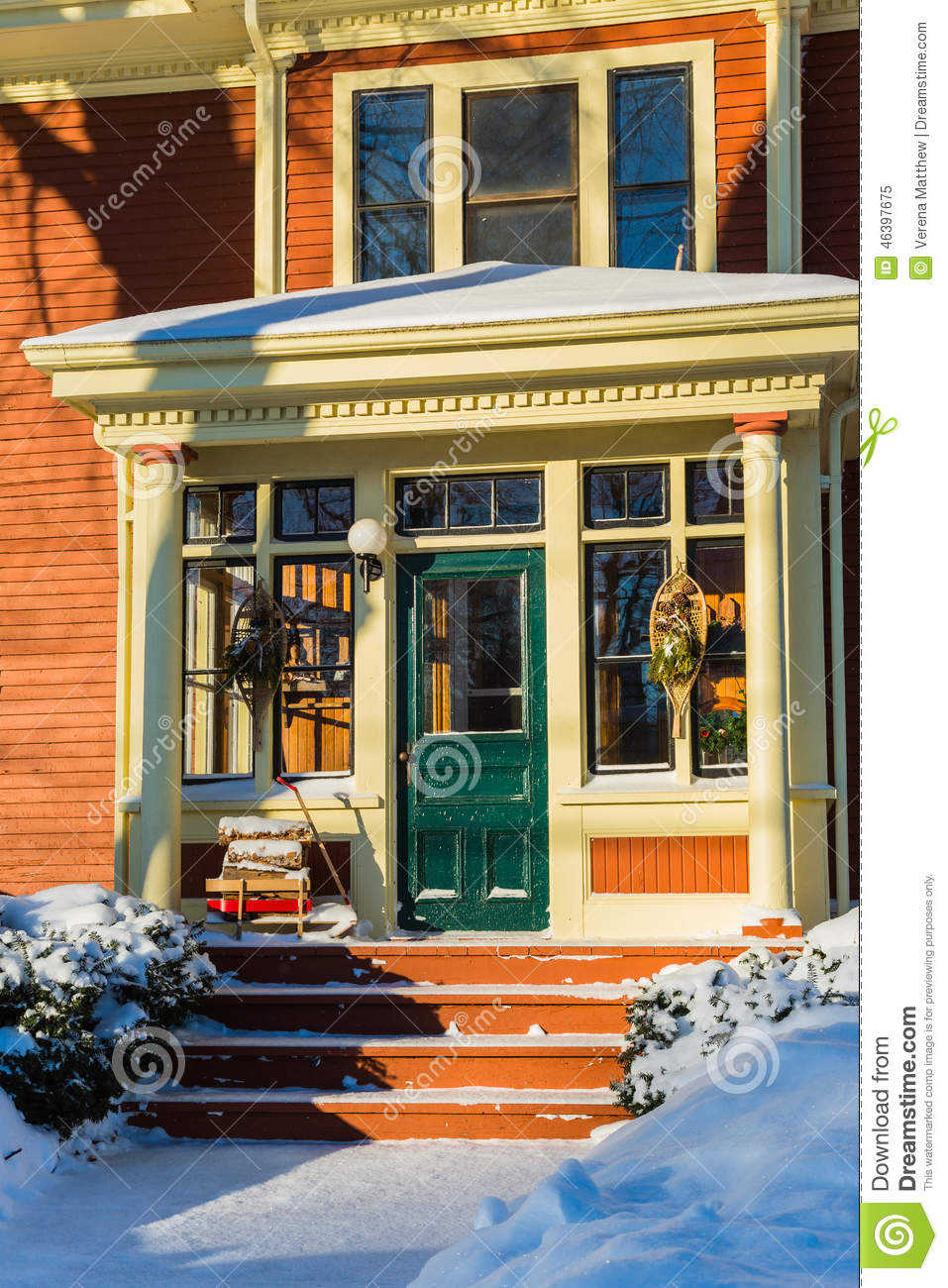 Winter home stock photo image 46397675 for American family homes