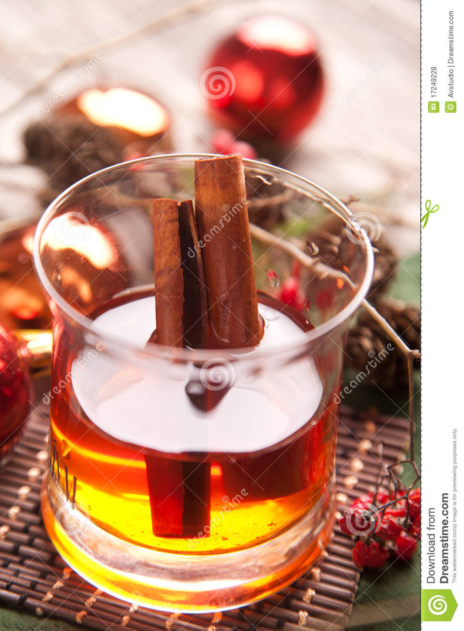 winter hot alcohol drink with cinnamon royalty free stock