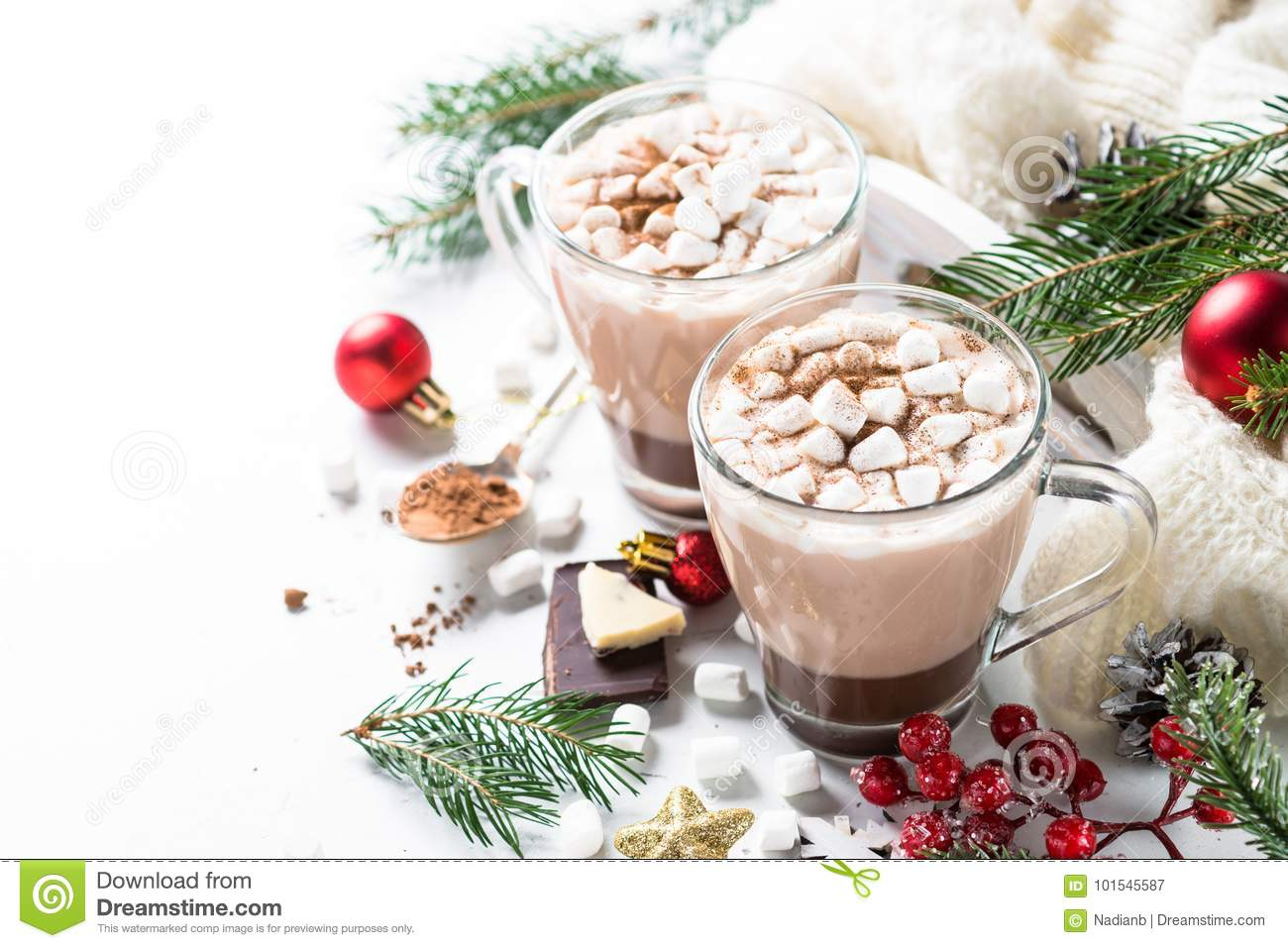 Christmas Hot Chocolate Or Cocoa With Marshmallow. Stock Image ...
