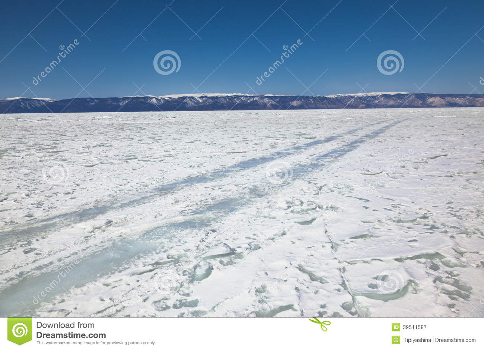 Winter ice road through Baikal