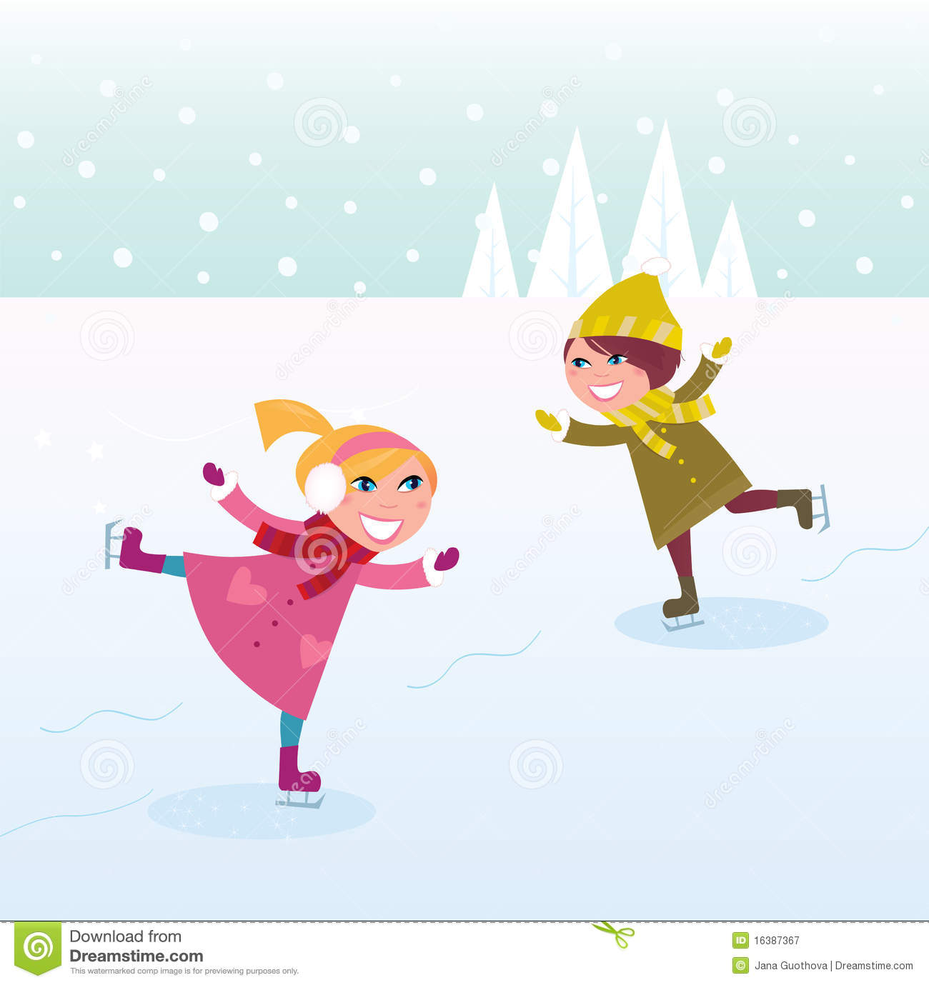 Winter: Ice Skating Little Girl And Boy Royalty Free Stock ...