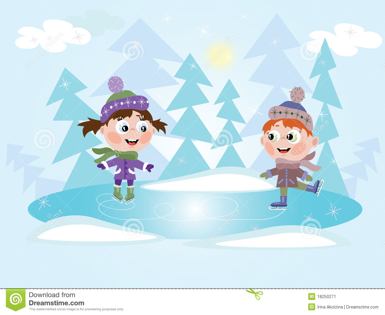 Frozen Ice Skating Clip Art