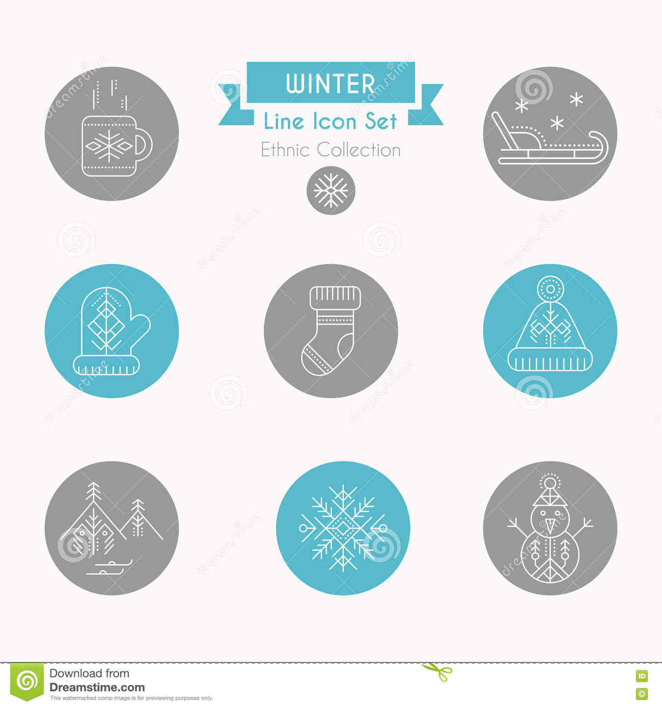 Winter icon set. Collection of creative line style design elements