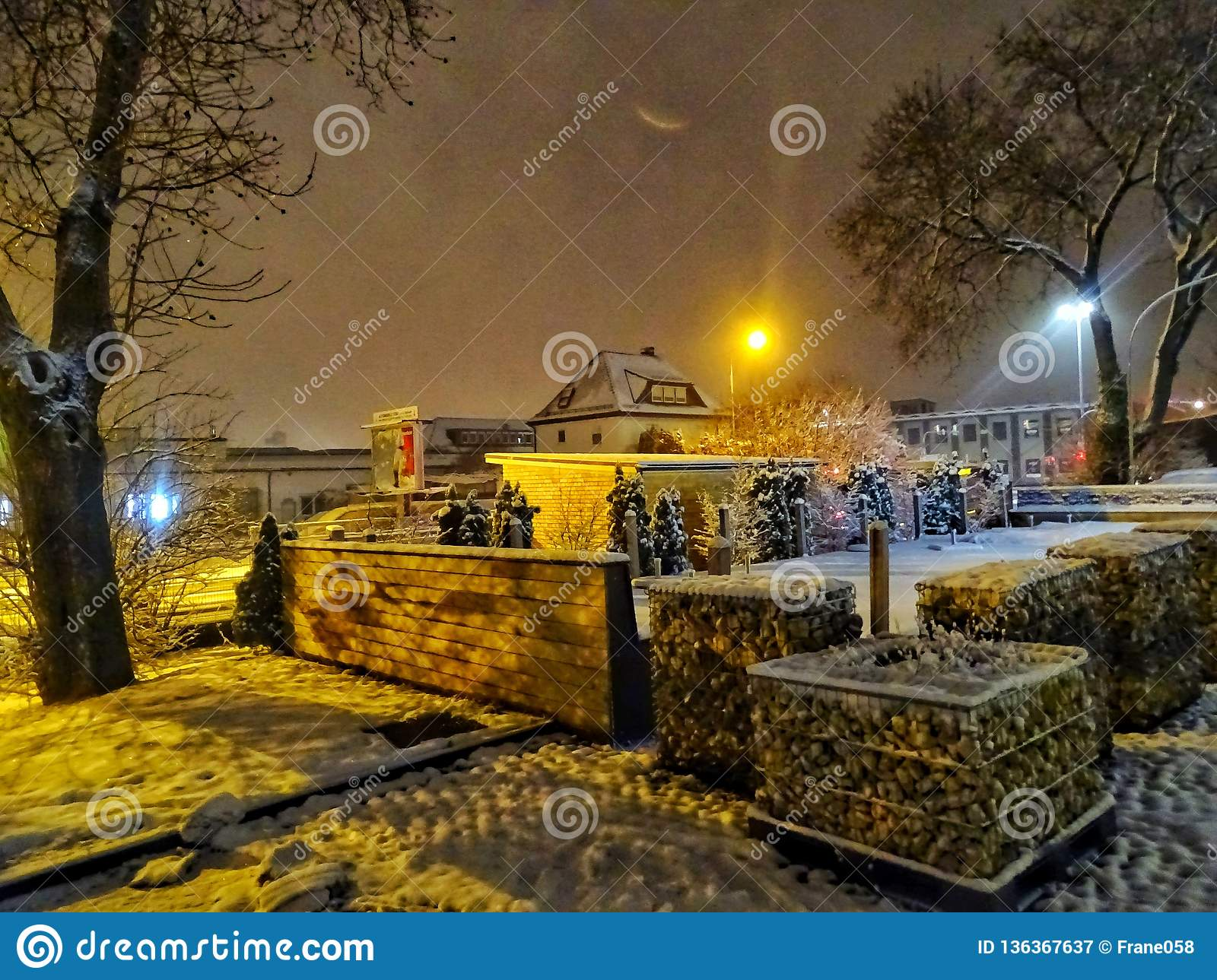 Winter idilic night scene