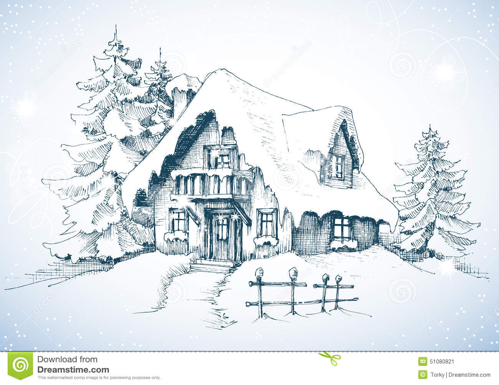 Winter idyllic landscape