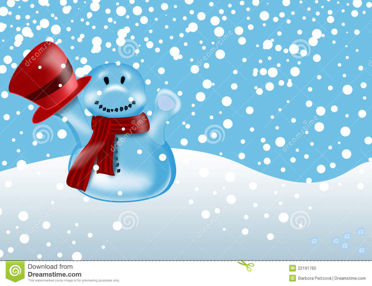 Winter Illustration With Snowman Royalty Free Stock Photo - Image ...
