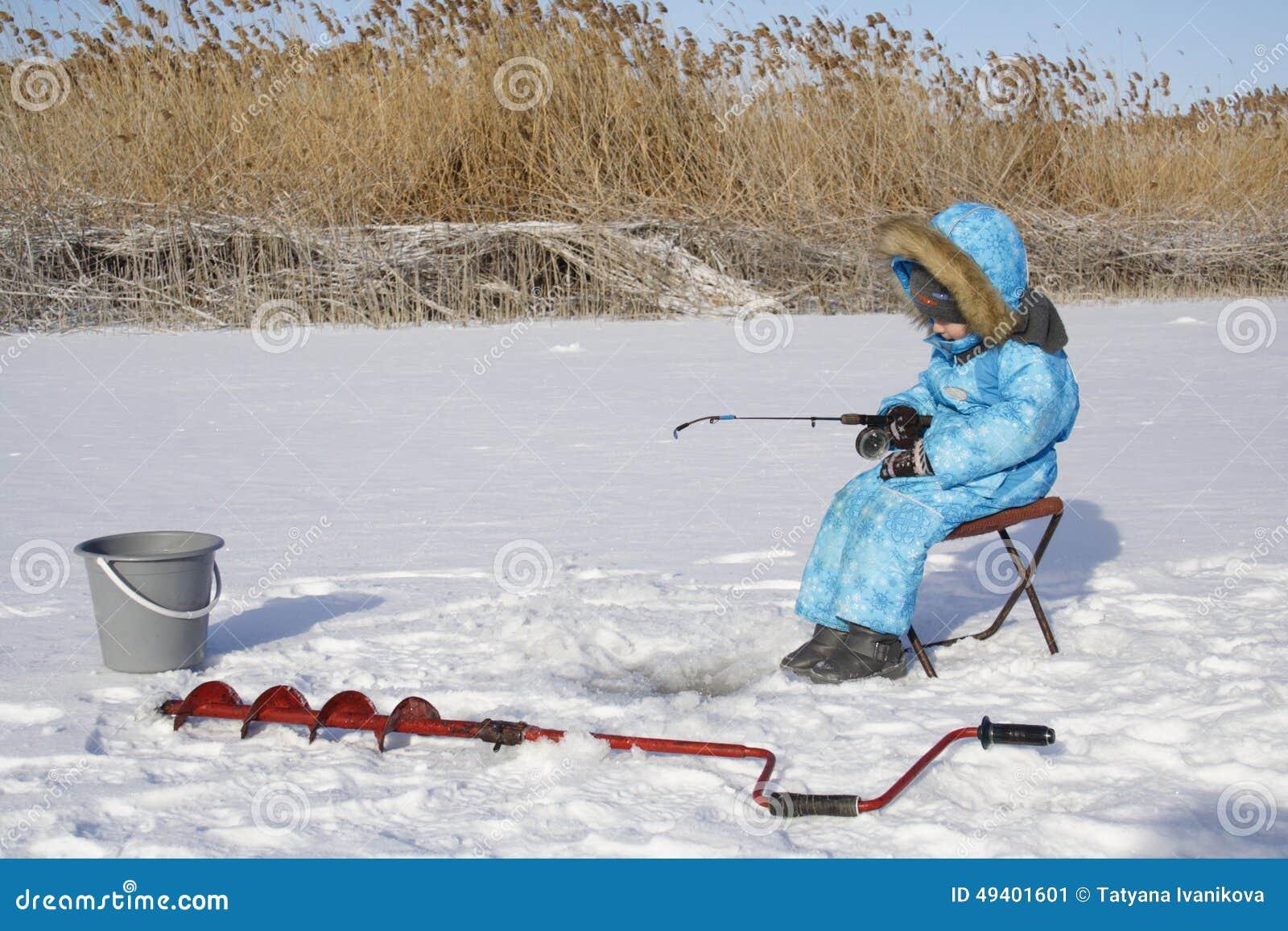 Download Winter Jungen Fischer Fischend Stockbild - Bild von glück, freundlich: 49401601