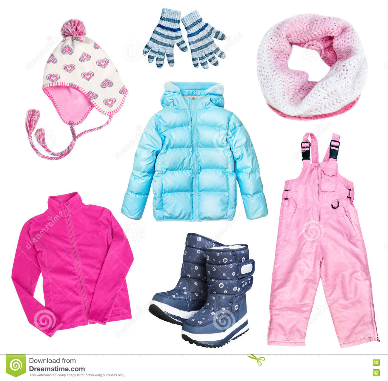 8fbd30b12 Winter Kid s Child s Clothes Set Collage Isolated. Stock Photo ...