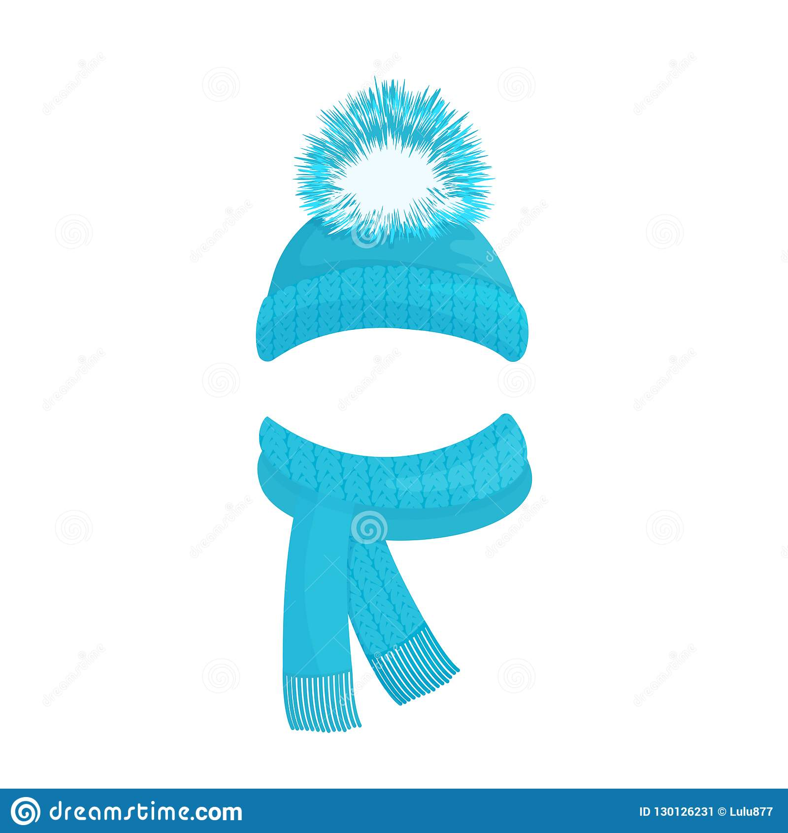 d0bd69eaa Winter Knitted Blue Hat With A Pompom And A Scarf With Fringe Stock ...
