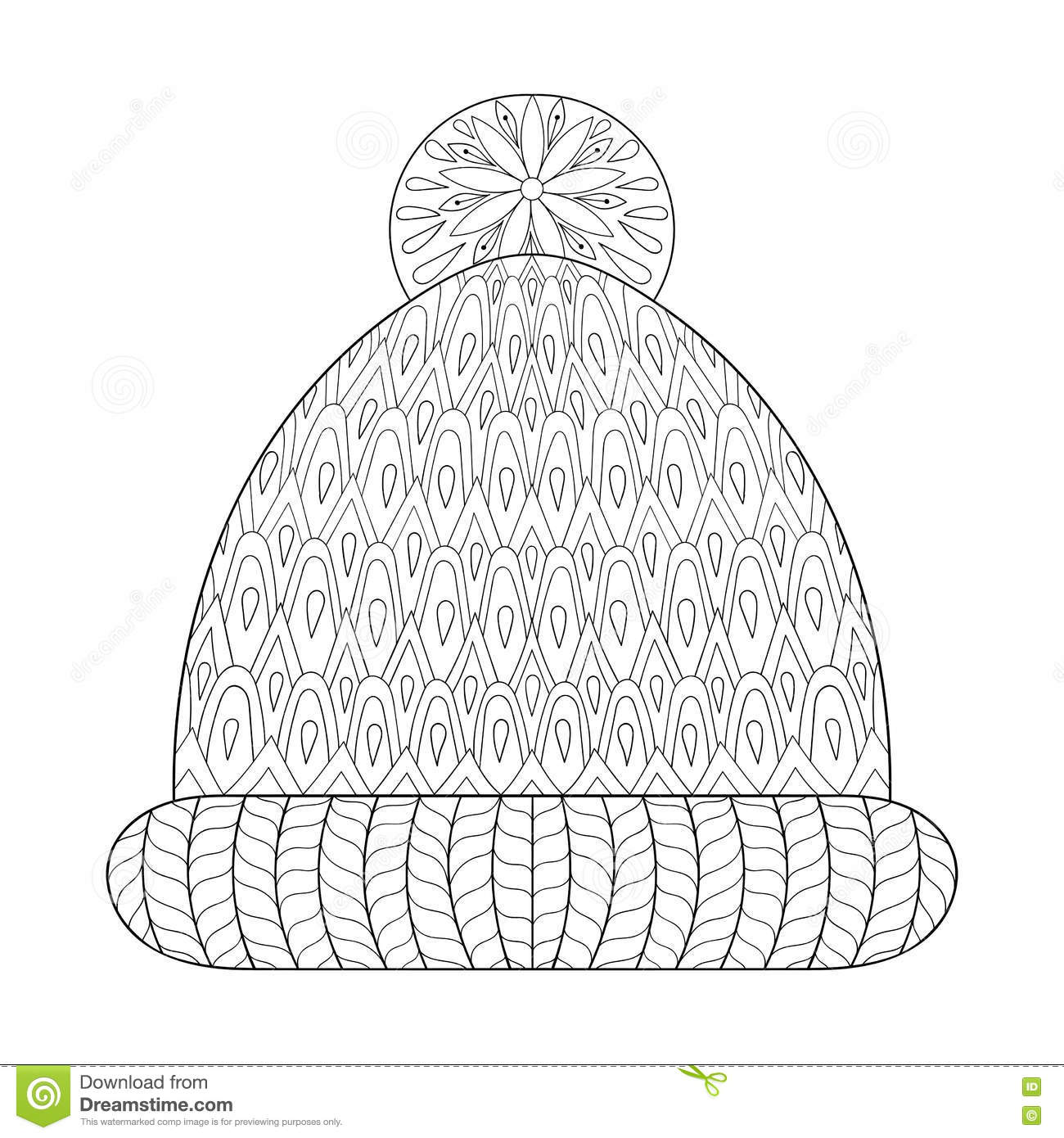 Winter knitted cap mittens in zentangle tribal monochrome for Cap coloring page