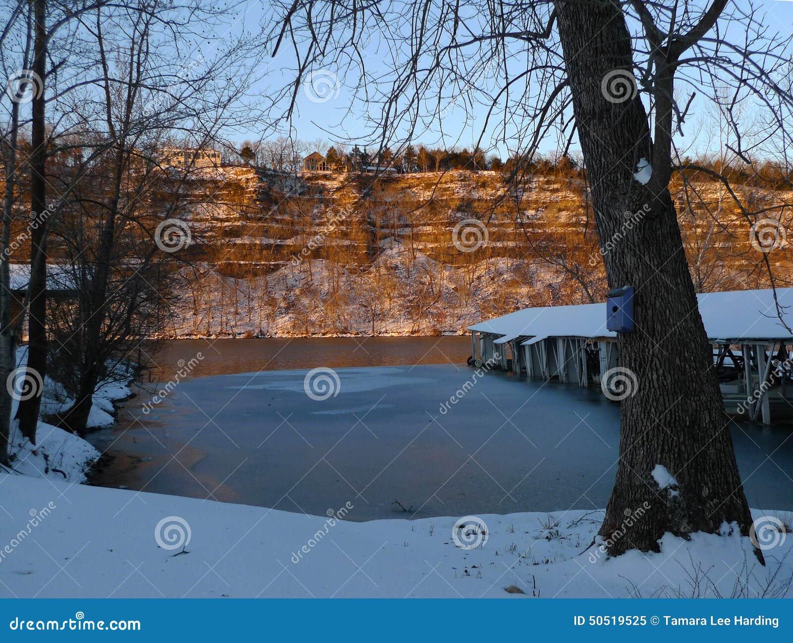 Winter on the lake stock image  Image of freezing, white