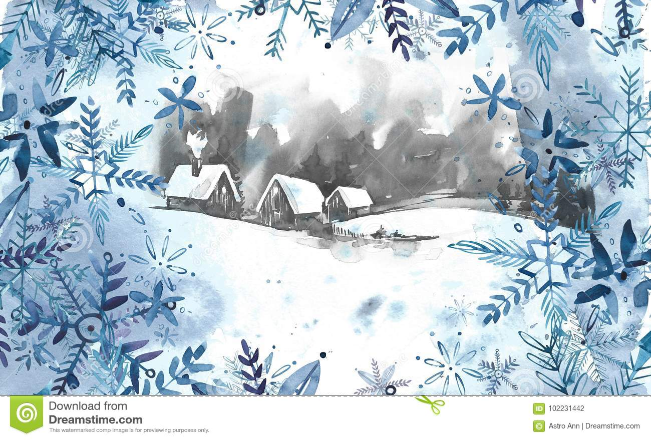 Winter landscape background. Watercolor painting, picture - forest, nature, tree. It can be used as logo, card