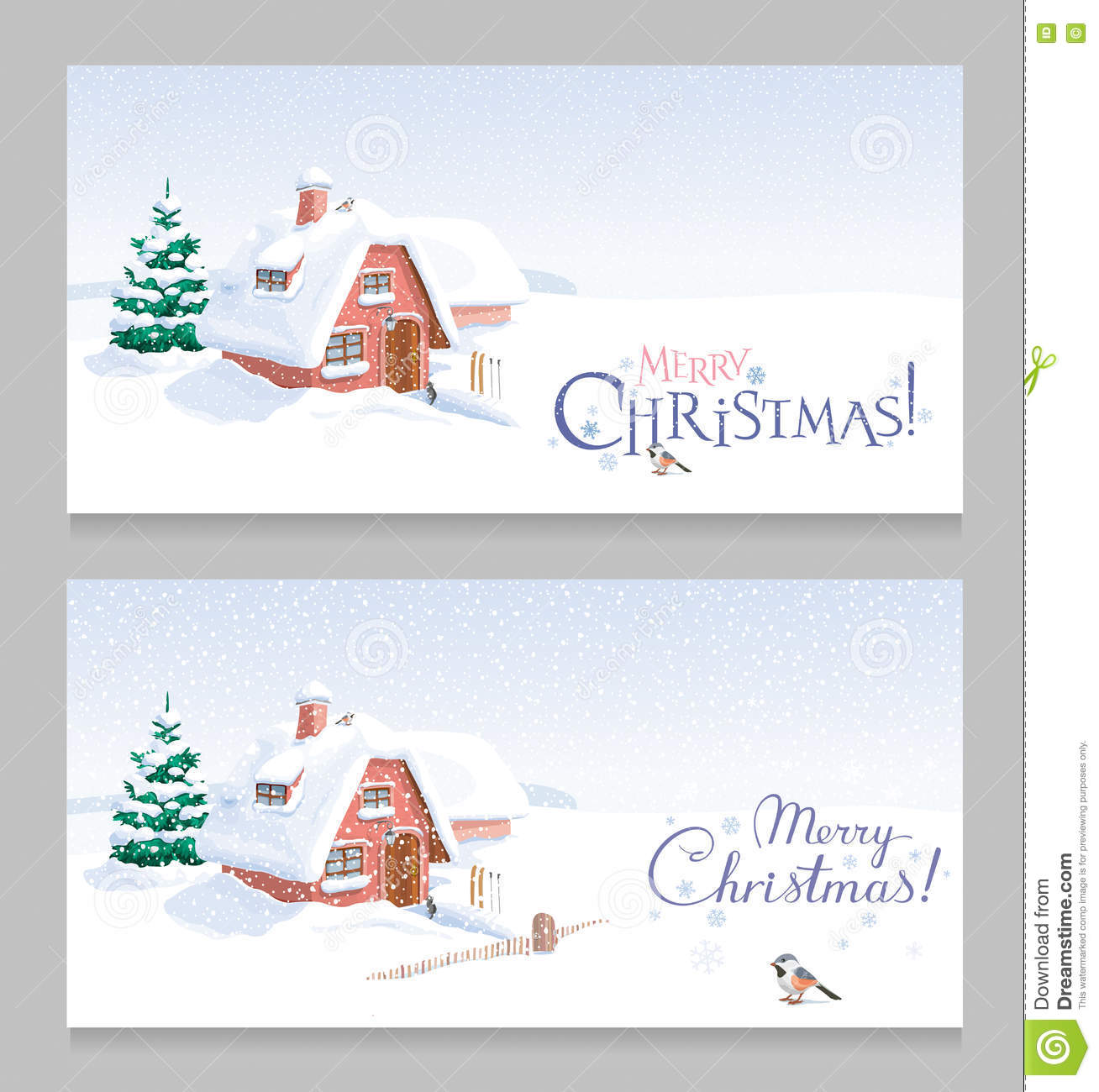 Winter Landscape Christmas Greeting Cards Set Stock Vector ...