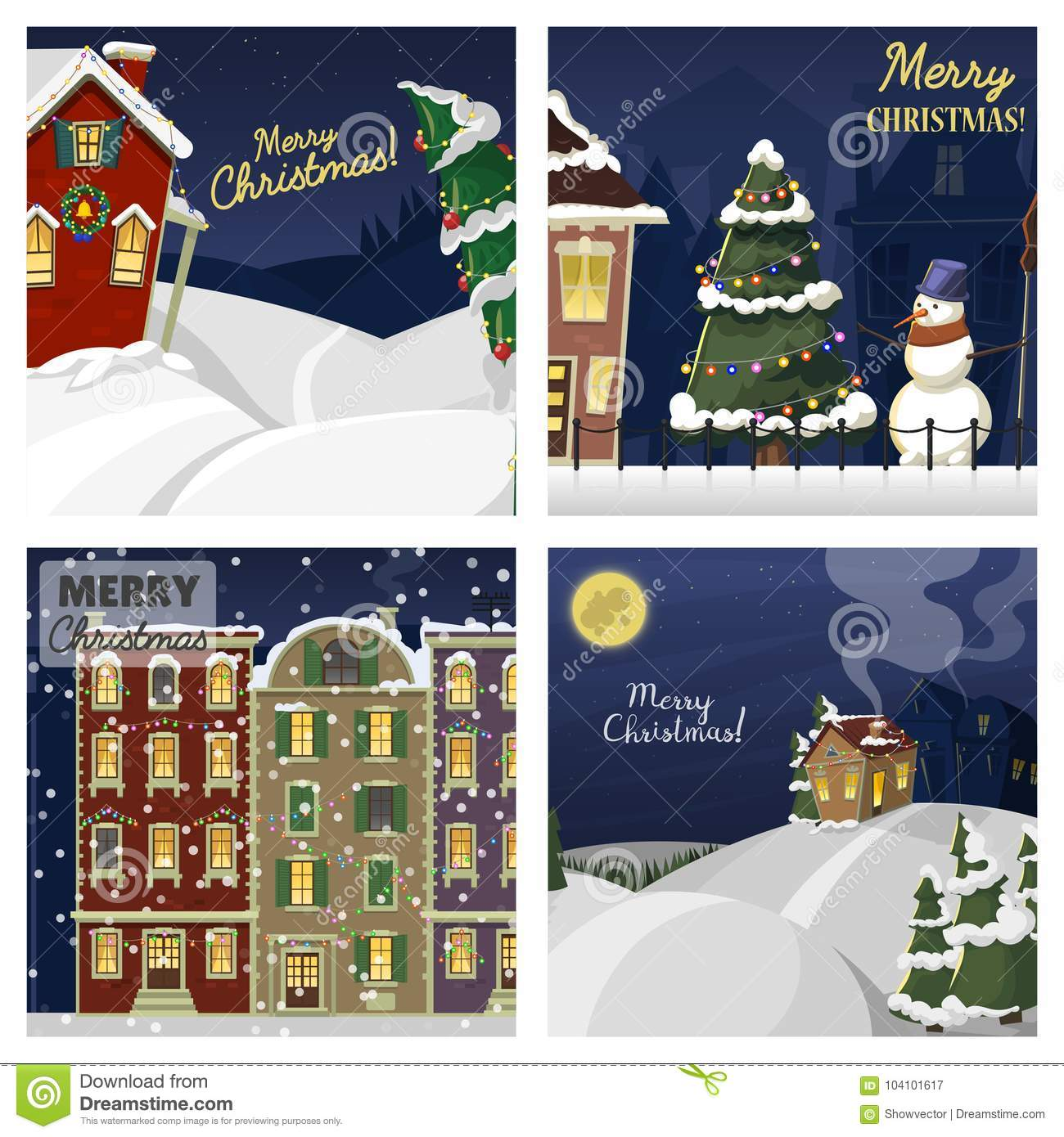 Download Winter Landscape With Christmas Houses Firtree Mountain Frozen Nature Wallpaper Beautiful Natural Vector Illustration