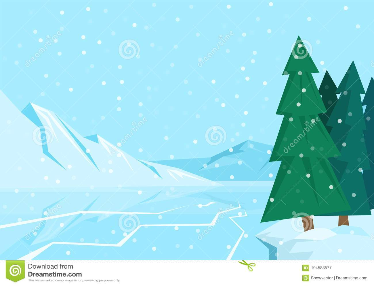 Winter Landscape With Christmas Tree Mountain Frozen Nature Wallpaper Beautiful Natural Vector Illustration Stock Vector Illustration Of Christmas Snowfall 104588577
