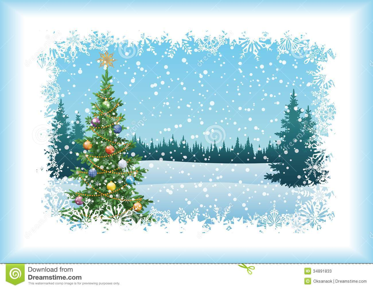 Winter Landscape With Christmas Tree Stock Image Image