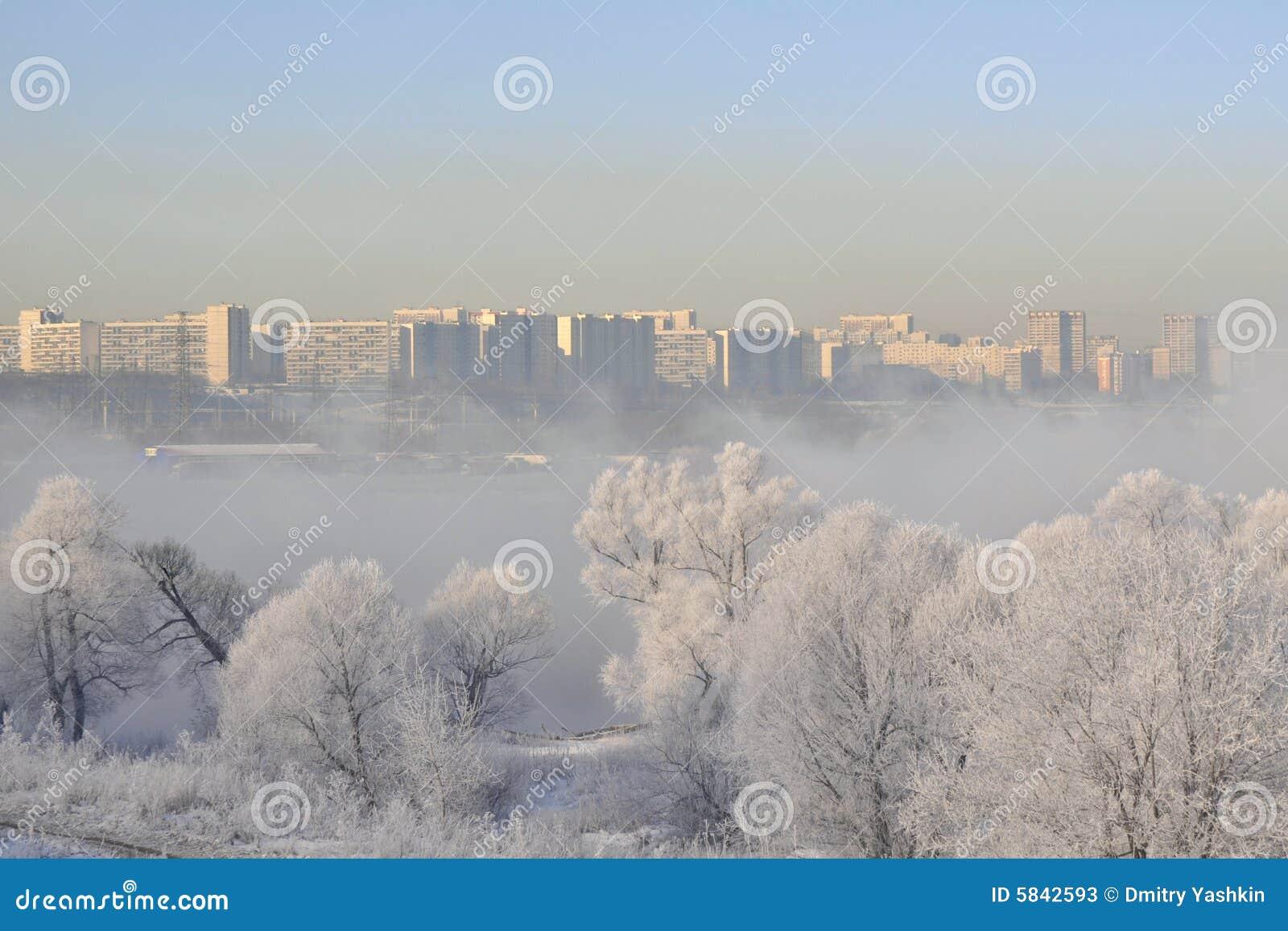 Winter landscape in City