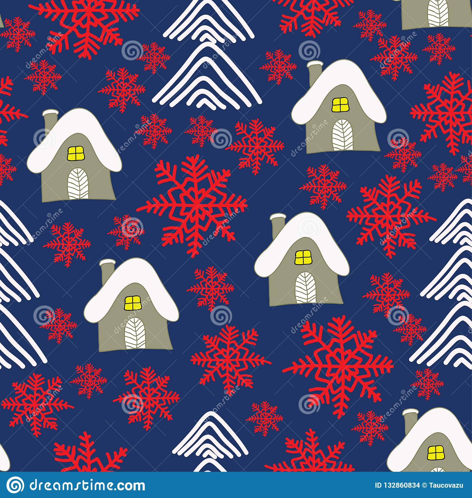 Winter landscape with cottage, red sowflakes and christmas trees. Christmas background
